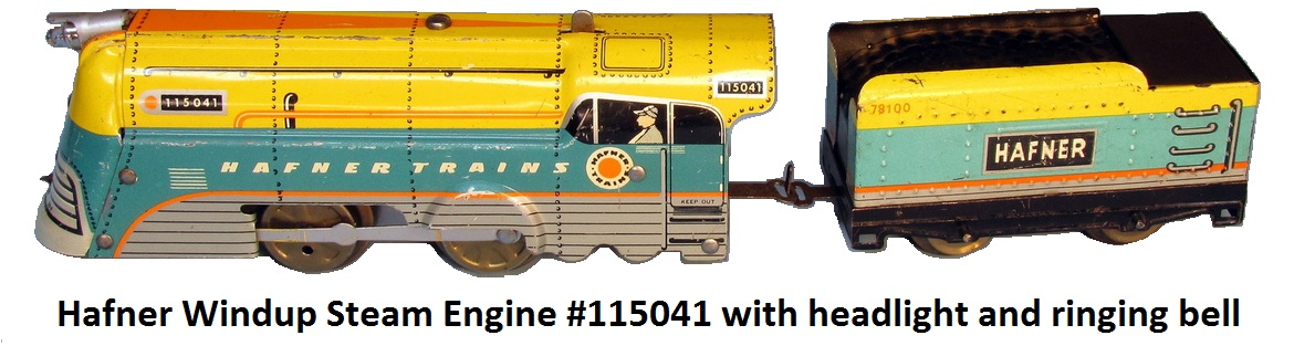 Hafner Windup Steam Engine #115041 with headlight and ringing bell in 'O' gauge