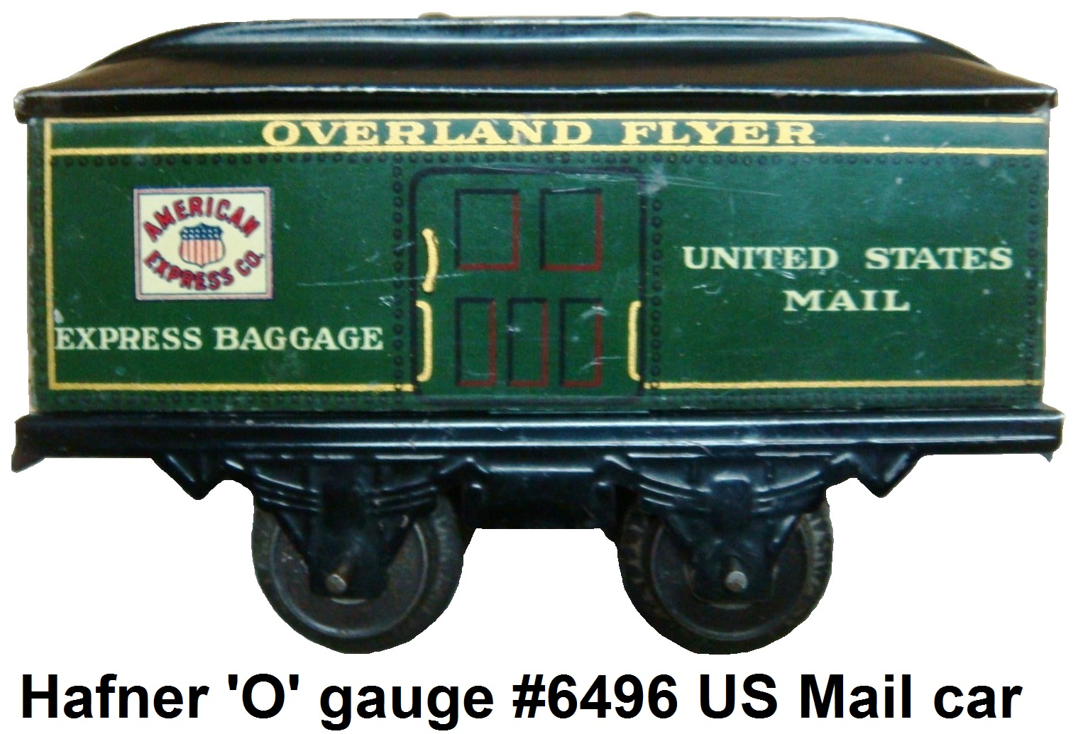 Hafner American Express US Mail Prewar #6496 version of the 4 wheel baggage car in 'O' gauge