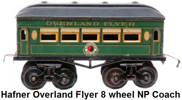Hafner rare Overland Flyer prewar 'O' gauge green lithographed eight wheel passenger coach with Northern Pacific herald
