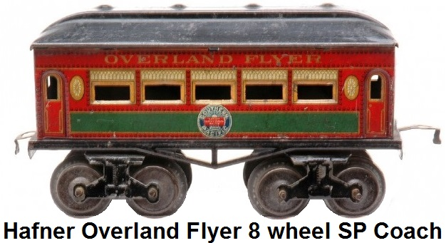 Hafner rare Overland Flyer prewar 'O' gauge red lithographed eight wheel passenger coach with Southern Pacific herald