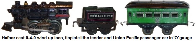 Hafner cast iron 0-4-0 wind up engine, and tinplate litho tender with Union Pacific passenger coach in 'O' gauge