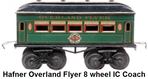Hafner rare Overland Flyer prewar 'O' gauge green lithographed eight wheel passenger coach with Illinois Central herald