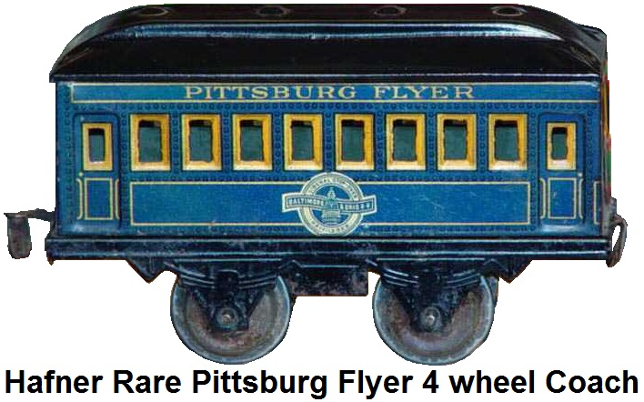 Hafner rare Pittsburg Flyer 'O' gauge blue lithographed four wheel passenger coach with Baltimore & Ohio herald