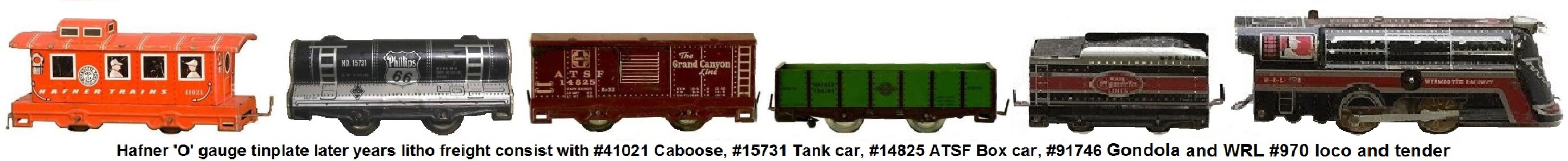 Hafner 'O' gauge mixed freight consist of later Wyandotte 4 wheel tinplate lithographed cars and the Wyandotte #970 Locomotive and tender
