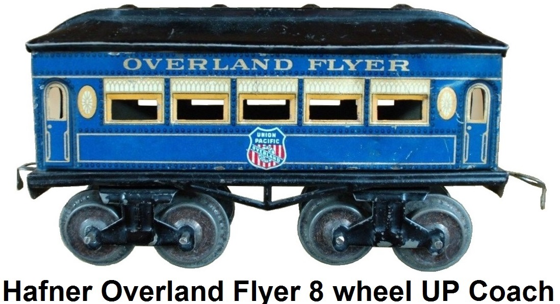 Hafner rare Overland Flyer prewar 'O' gauge blue lithographed eight wheel passenger coach with Union Pacific herald