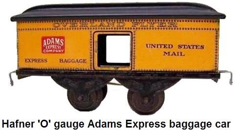 Hafner Adams Express version of the 4 wheel baggage car in 'O' gauge