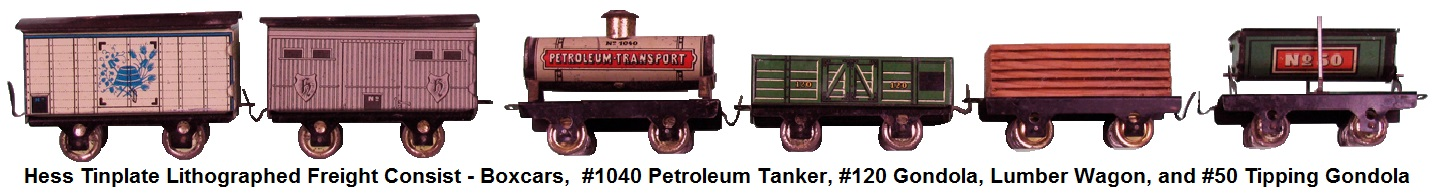 Hess 300 Series Freight Cars - lumber wagon, #50 tipping gondola, #120 gondola, #1040 petroleum tanker, and 2 boxcars