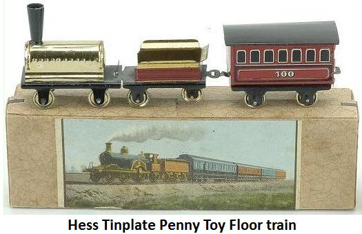 Hess penny toy transition; paper litho on tender, tin litho on passenger, spirit on loco + box