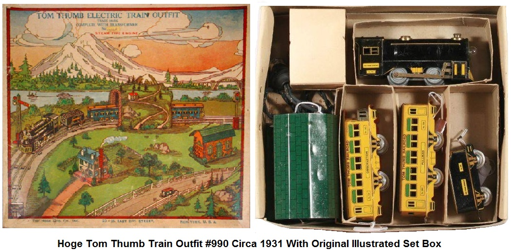Hoge Mfg. 'O' gauge Tom Thumb Litho Pass Set #990 with Loco, Tender, #881 Pullman, #881 Observation in Original Illustrated Set Box Circa 1931