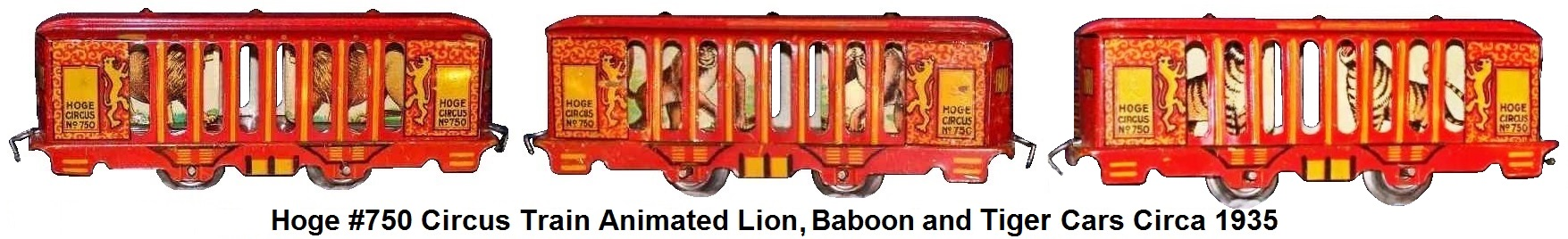 Hoge Animated Lion, Baboon and Tiger cars from #750 circus train in 'O' gauge circa 1935