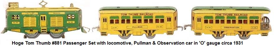 Hoge #881 Tom Thumb electric locomotive, Pullman & Observation cars in 'O' gauge circa 1931