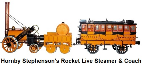 Hornby Stephenson's Rocket live steamer and Coach