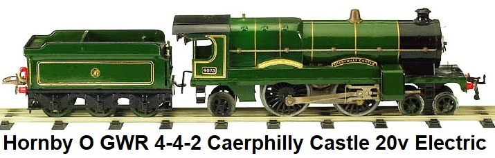 Hornby 'O' gauge E320 4-4-2 #4073 Carephilly Castle 20v electric in GWR green, #2 special