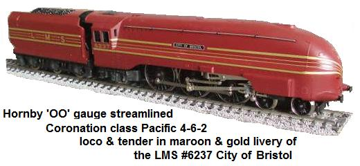 Hornby 'OO' gauge streamlined Coronation class pacific locomotive in maroon and gold livery of the L.M.S. #6237 City of Bristol