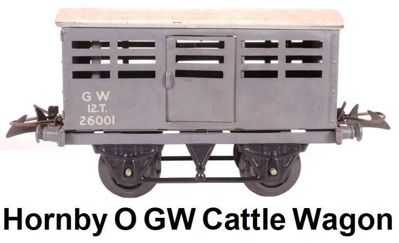 Hornby 'O' gauge GW H26001-SD #1 Cattle Wagon 26001 in Grey with small GW lettering