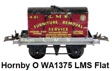 Hornby O gauge WA1375 LMS Flat Truck with Container