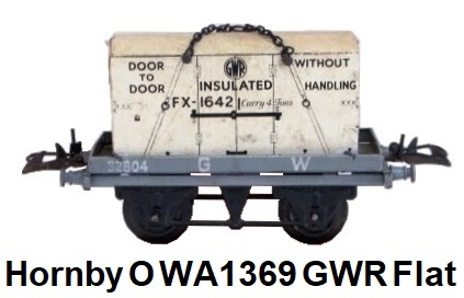 Hornby O gauge WA1369 GWR Flat Truck with Container