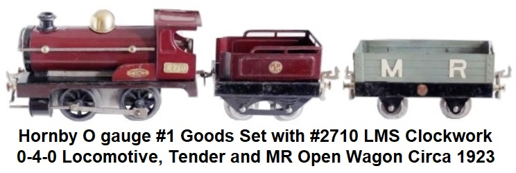 Hornby O gauge #1 Goods Set with #2710 LMS Clockwork 0-4-0 Locomotive, Tender and MR Open Wagon Circa 1923