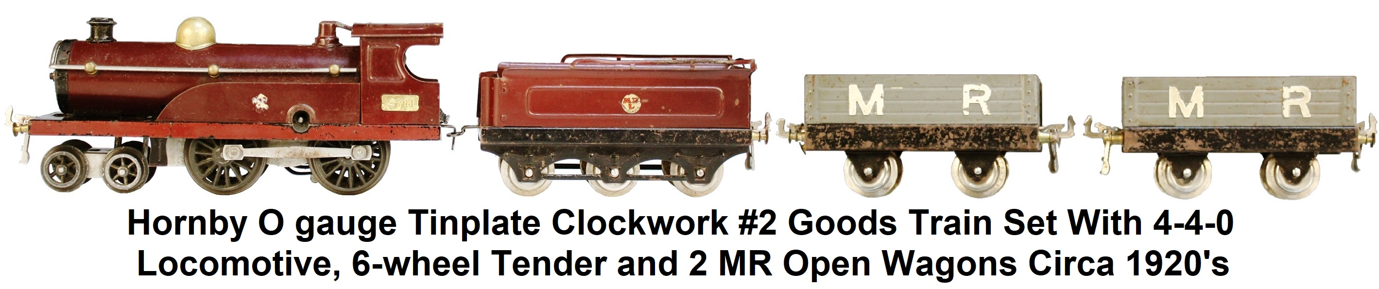 Hornby O gauge #2 Goods Set with Clockwork 4-4-0 Locomotive, 6-wheel Tender and 2 MR Open Wagons Circa 1920's