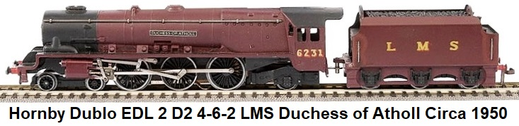 Hornby Dublo EDL 2 D2 4-6-2 LMS Loco and Tender #6231 Duchess of Atholl circa 1950