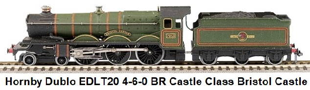 Hornby Dublo EDLT20 4-6-0 BR green Castle Class Loco and Tender #7013 Bristol Castle