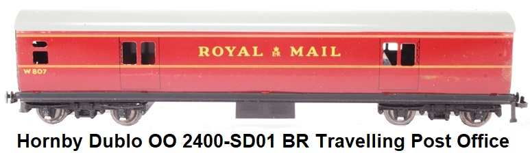 Hornby Dublo 'OO' 2400-SD01 Travelling Post Office Set W807 in BR Maroon
