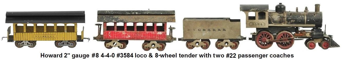 Howard #8 type 2 inch gauge #3584 4-4-0 locomotive and tender with passenger coach