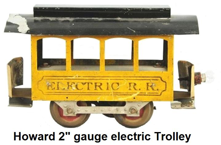 Howard Early 4 Window Electric Trolley in 2-inch gauge. Painted yellow sides with black roof