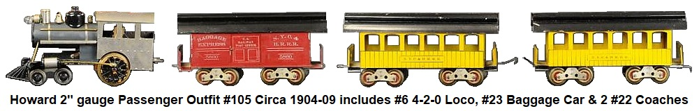 Howard passenger set outfit #105, circa 1904-1909, includes #6 steam profile electric 4-2-0 loco, #23 red painted Baggage car lettered N.Y.C. & H.R.R.R. 5860 and two #22 Passenger coaches