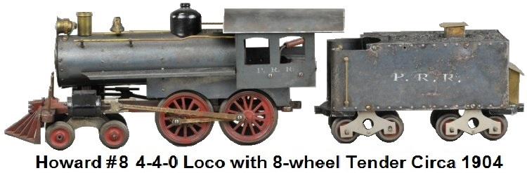 Howard Early steam loco with eight wheel tender example, c. 1904, Russian iron finish on engine frame and wheels, rubber stamped PRR