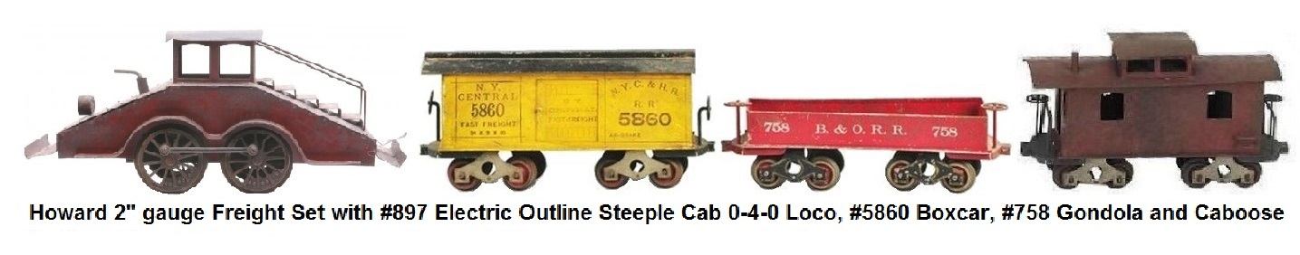 Howard #897 Steeple cab 0-4-0 electric engine, NYC & HR gondola, #5860 NYC & HR box car and caboose in 2 inch gauge