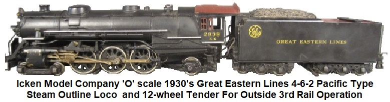 Icken 'O' scale 4-6-2 Pacific loco and 12-wheel tender in Great Eastern Lines livery for outside 3rd rail operation