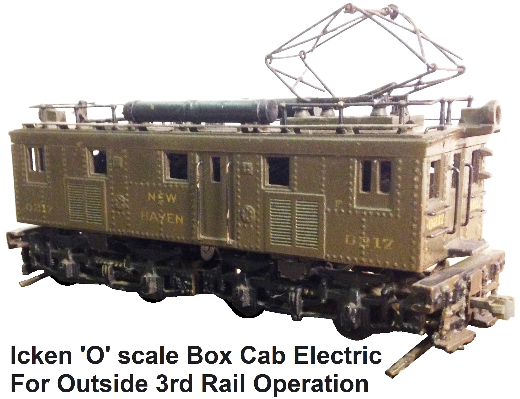 Icken Model Company N.H.N.H. & H.R.R. box cab electric switcher in 'O' scale for outside 3rd rail operation