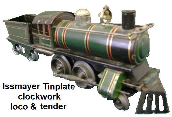 Issmayer clockwork tinplate loco and tender in '30mm' gauge