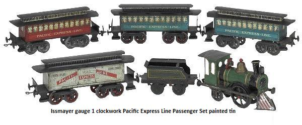 Issmayer gauge 1 Pacific Express Line Passenger Set painted tin American outline clockwork 0-2-2 engine