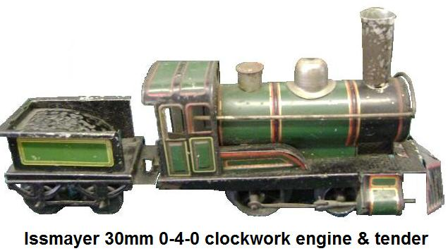 Issmayer O-4-0 clockwork tinplate loco and 4 wheel tender in '30mm' gauge