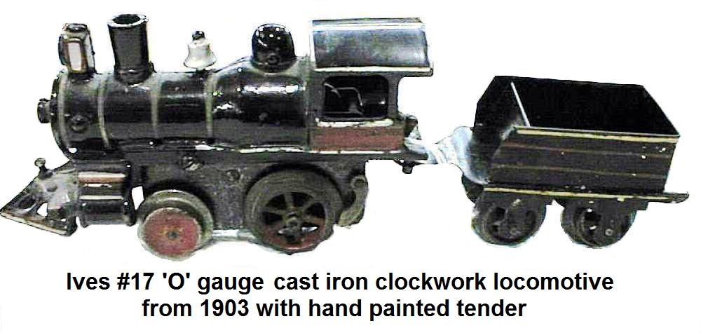 Ives #17 'O' gauge clockwork train engine and hand painted tender from 1903