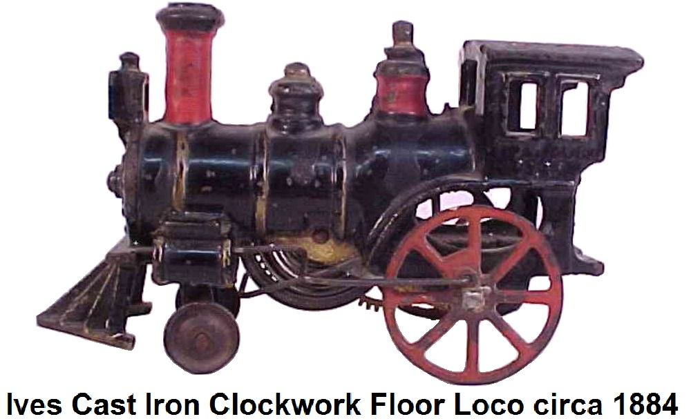Early Ives Cast Iron Clockwork Floor Locomotive Train. There is a patent date of Aug 1884 underneath the drivers side cab window