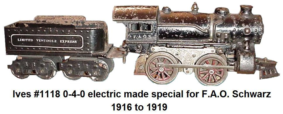 Ives cast iron #1118 0-4-0 electric made special for FAO Schwartz 1916 to 1919
