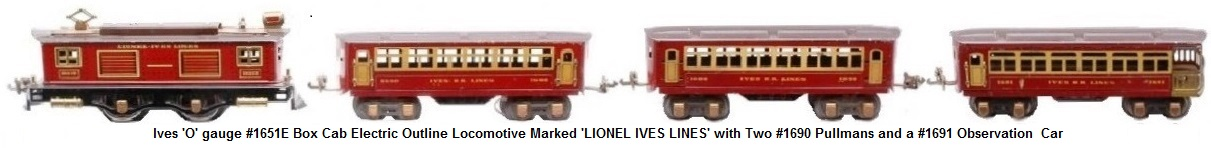 Ives prewar 'O' gauge #1651E box cab 0-4-0 electric loco marked LIONEL IVES LINES, two #1690 Pullmans and #1691 observation.