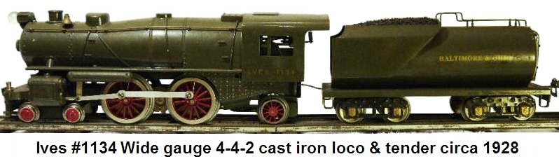 Ives #1134 Wide gauge 4-4-2 cast iron loco & Vanderbilt tender painted in green B&O R.R. livery circa 1928