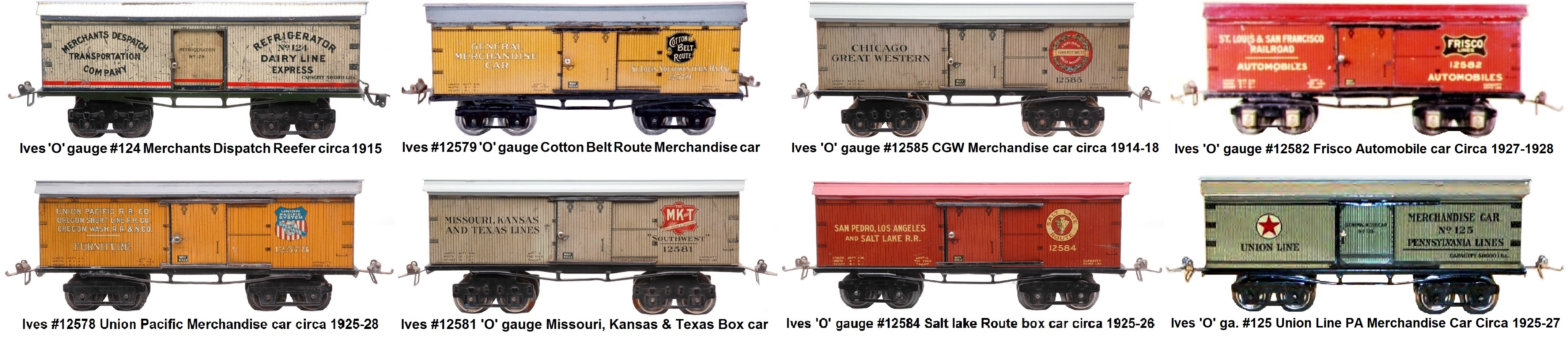 Ives #124 series 9 inch box cars in 'O' gauge