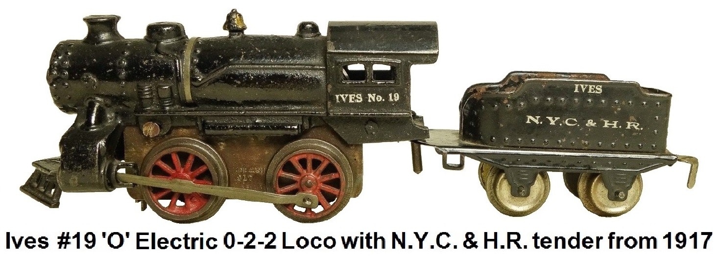 Ives #19 'O' gauge cast iron electric 0-2-2 loco with tender from 1917