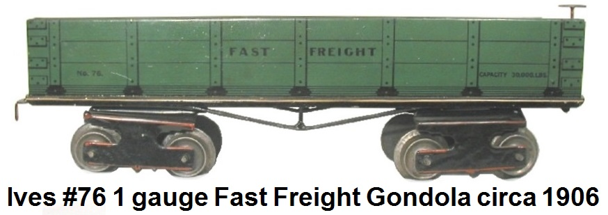Ives #70 Lithographed Tinplate Fast Freight gondola circa 1906 in 1 gauge