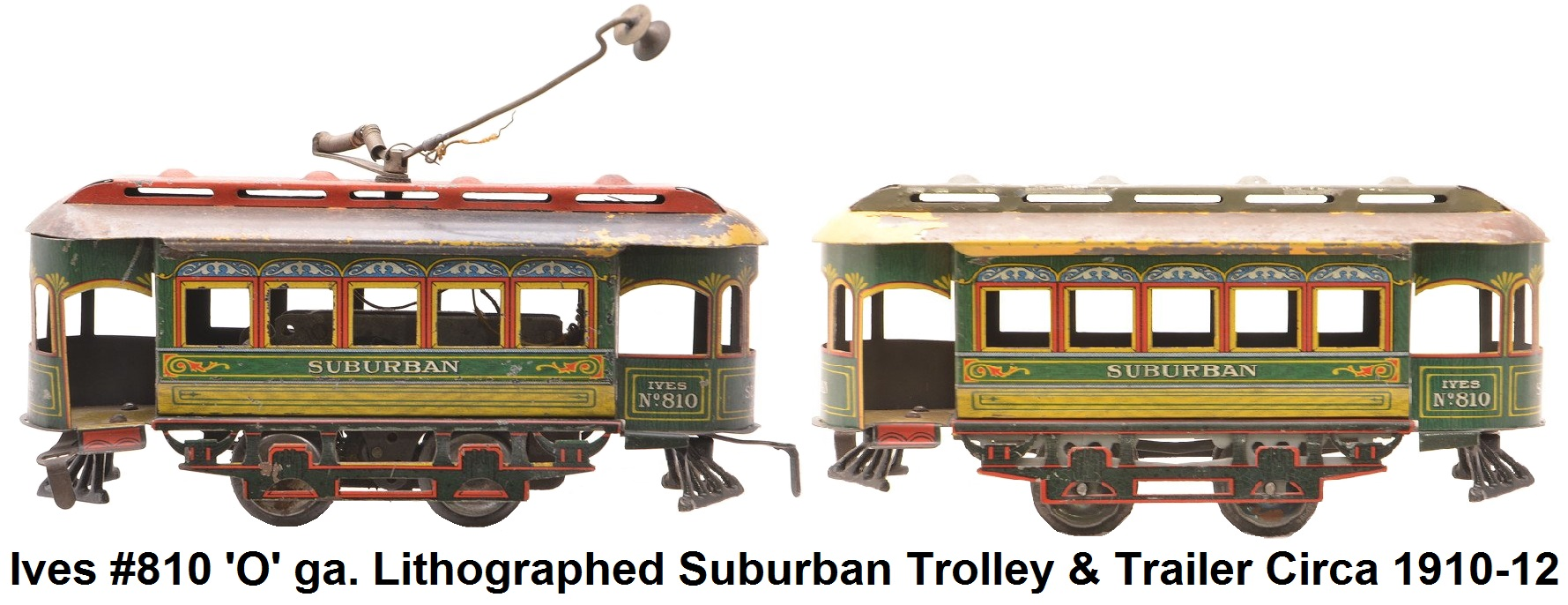 Ives #810 prewar 'O' gauge lithographed Suburban trolley with trailer circa 1910-12