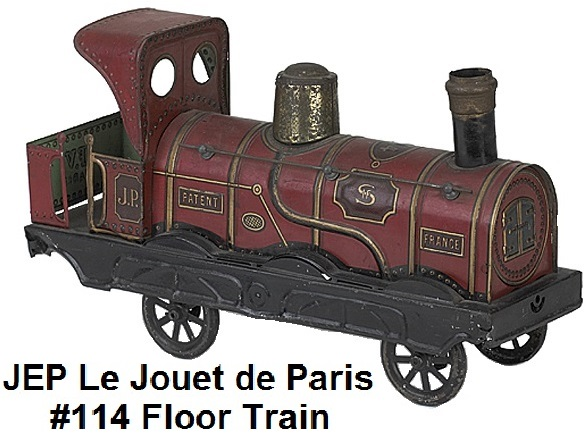 JEP Le Jouet de Paris #114 Floor Train lithographed and painted tin train 13 inches long
