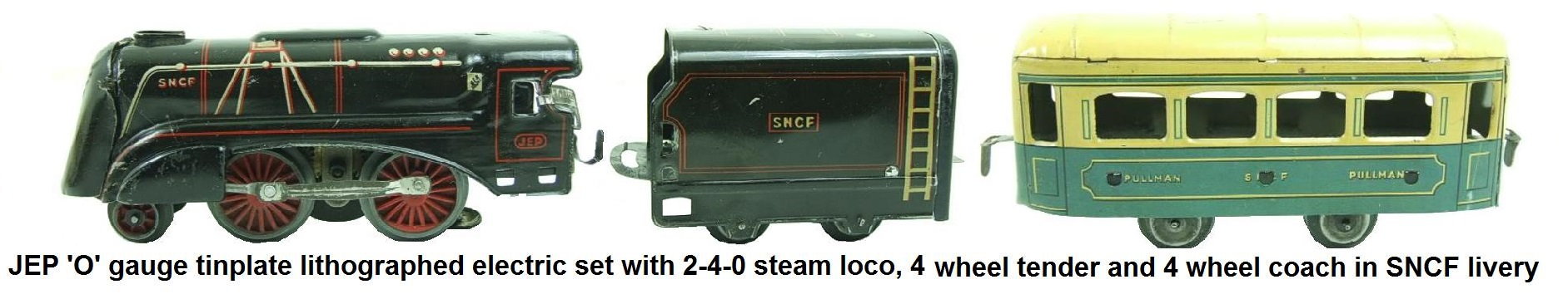 JEP 'O' gauge lithographed tin, 2-4-0 electric steam locomotive, 4 wheel tender and 4 wheel pullman in SNCF livery