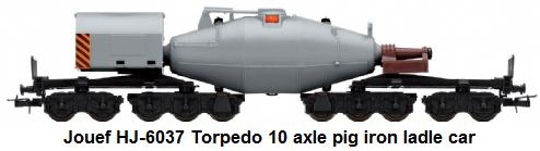 Jouef HJ-6037 Torpedo ladle car for transporting liquid pig iron, 10-axle design