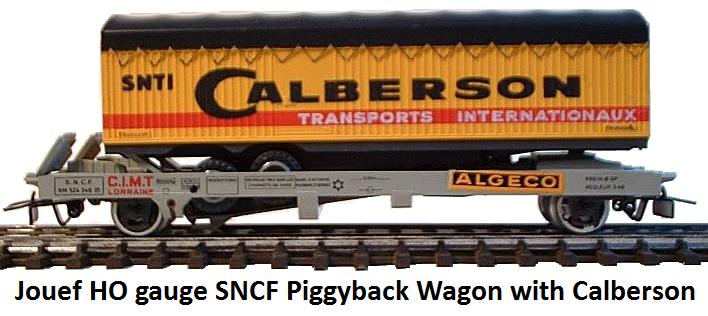 Jouef SNCF piggy back wagon with 'Calberson' trailer