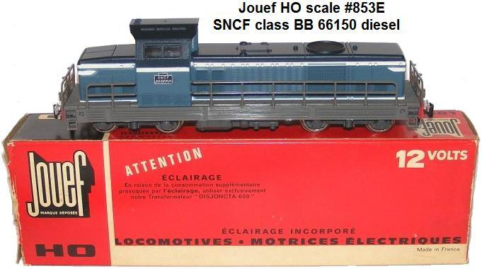Jouef HO gauge #853E SNCF class BB 66150 diesel locomotive in 12 volt 2 rail first made in 1966